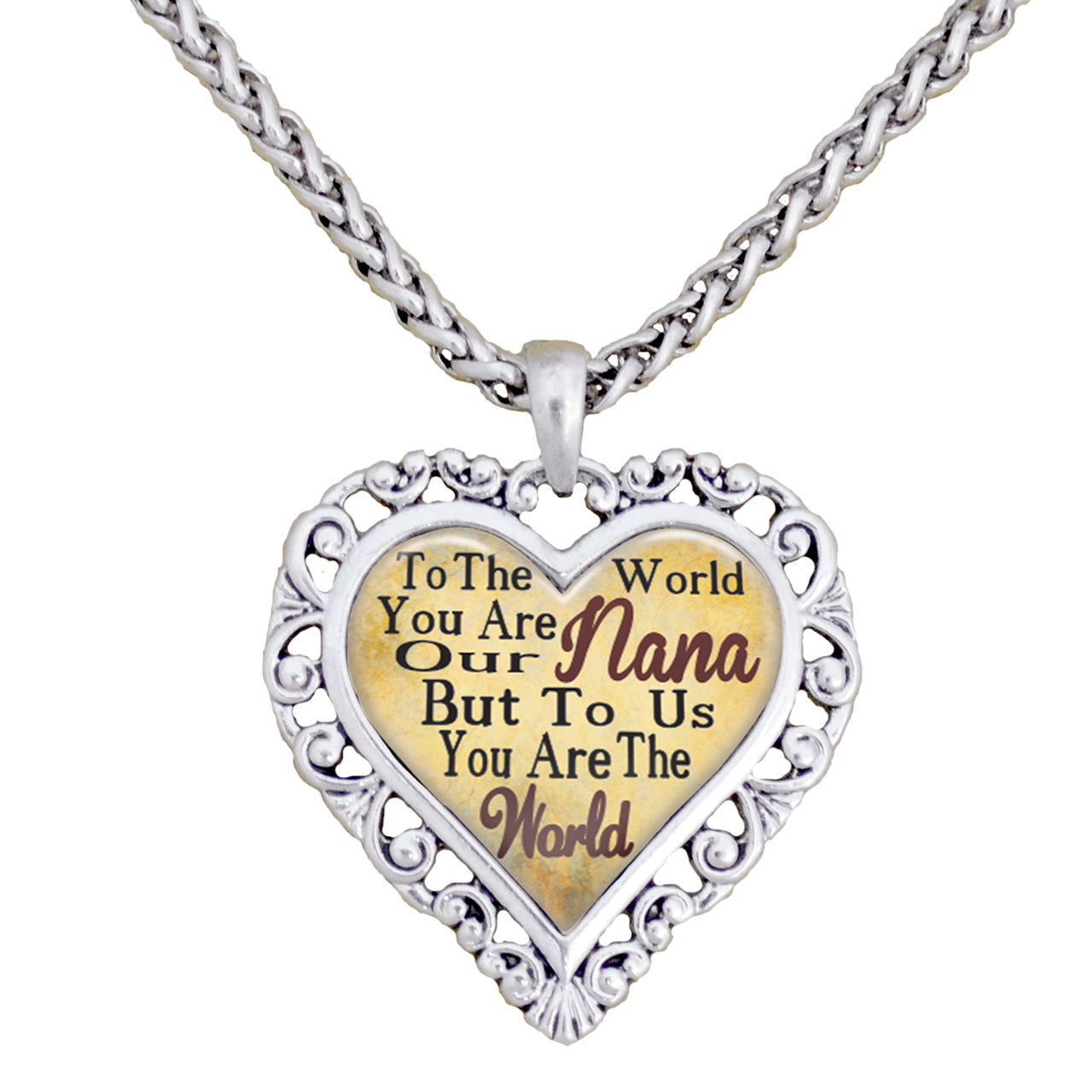 Nana You Are The World To Us Silver Chain Necklace Heart Jewelry