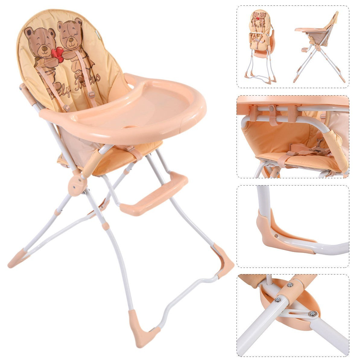 Baby High Chair Infant Toddler Feeding Booster Seat Folding Safe Portable - Tan