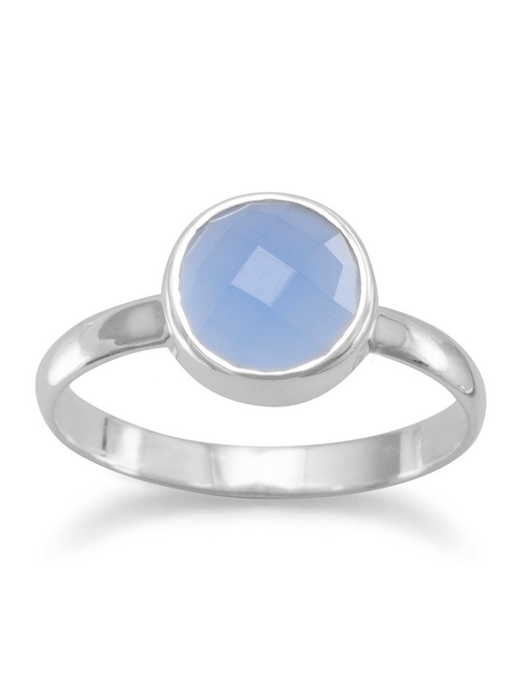 Stackable Ring Faceted Round Blue Chalcedony Sterling Silver by unknown