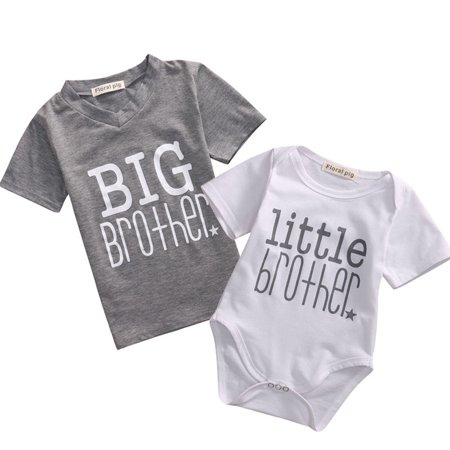 Toddler/Newborn Boys Shirt Big Brother T-Shirt & Little Brother Romper &Little Sister Tee Tops ()