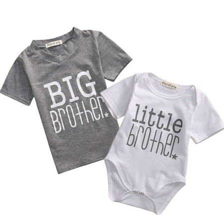 Toddler/Newborn Boys Shirt Big Brother T-Shirt & Little Brother Romper &Little Sister Tee