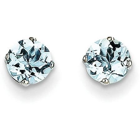 Aquamarine 14k White Gold Earrings - Aquamarine 14kt White Gold 5mm Stud Earrings