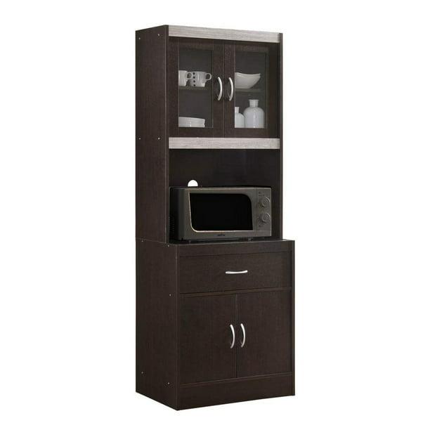 Hodedah Import 70 Tall Top Bottom Enclosed Kitchen Cabinet W Drawer Chocolate Walmart Com Walmart Com