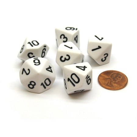 Opaque 16mm 10 Sided D10 Dice Numbered 1 to 10, 6 Pieces - White with Black (Opaque One Piece)
