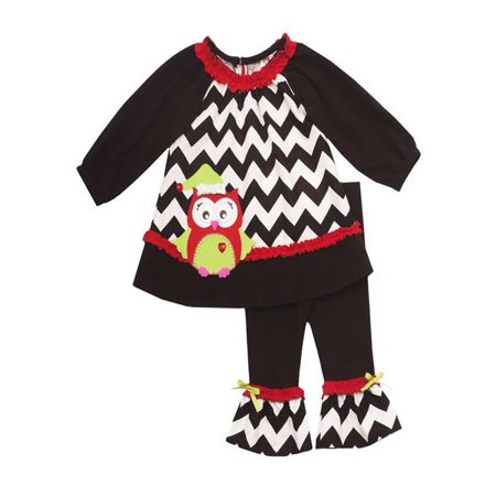Girls Christmas Outfits : Black Chevron Owl Legging Set 4 - Girls Christmas Outfit