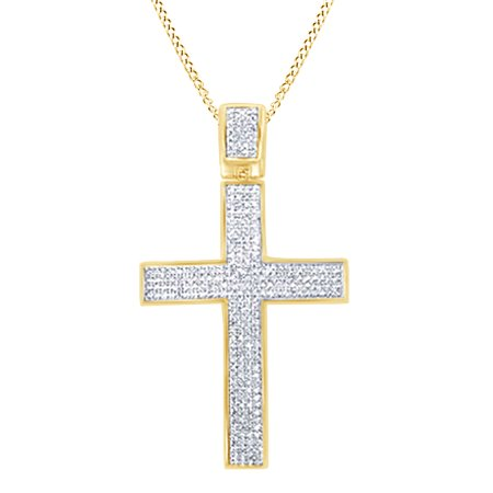 Fine Necklaces & Pendants Round Natural Diamond Cross Pendant Necklace Sterling Silver Other Wedding Jewelry