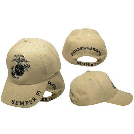 Khaki U.S. Marines USMC Marine EGA Logo Eagle Subdued Semper Fi Cap Hat