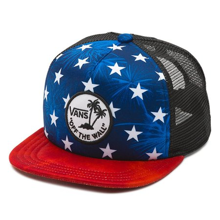 bb5948ca189 Vans - Vans Off The Wall Men s Surf Patch Stars Trucker Hat Cap - Red White  Blue Black - Walmart.com