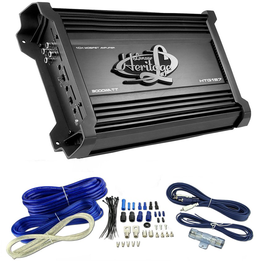 LANZAR HTG157 3000W Mono MOSFET Car Audio Power Amplifier Stereo 2 Ohm+Amp