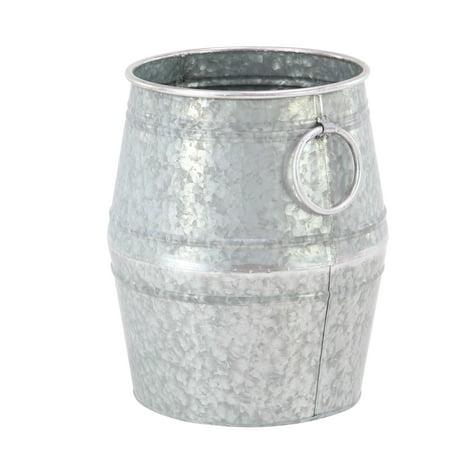 Carnelian Barrel - Decmode Farmhouse Large Galvanized Metal Barrel Planters - Set of 2