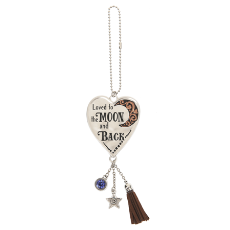 Loved to the Moon and Back Heart Shaped Car Charm - By Ganz