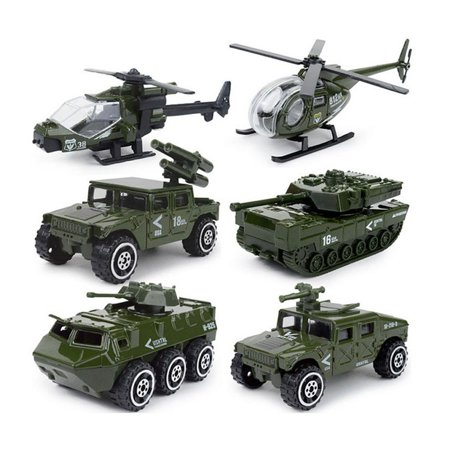 6 Diecast Military Vehicle Playset . Includes tank, jeep, panzer, anti-aircraft vehicle, attack helicopter, and a scout helicopter](Scout Helicopter)