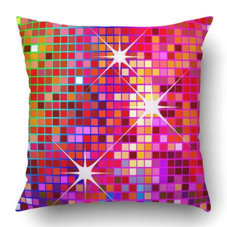 WOPOP Red Sparkle Party Disco Retro Glitter Seventies Fun Flashy Bright Pillowcase 18x18 inch