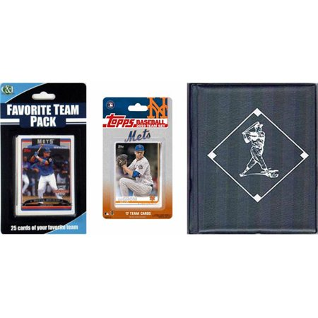 C&I Collectables 2019METSTSC MLB New York Mets Licensed 2019 Topps Team Set & Favorite Player Trading Cards Plus Storage