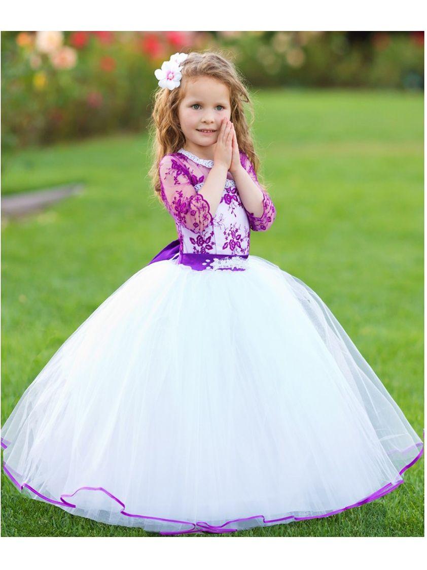 7743b702212 TriumphDress - Girls White Purple Organza Lace Beaded Salma Flower Girl  Dress - Walmart.com