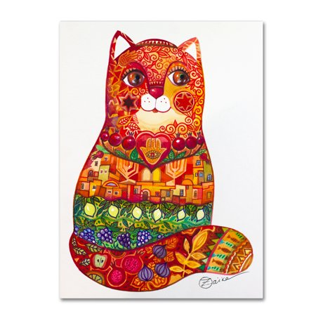 Trademark Fine Art 'Judaica Folk Cat' Canvas Art by Oxana Ziaka (Unique Folk Art)