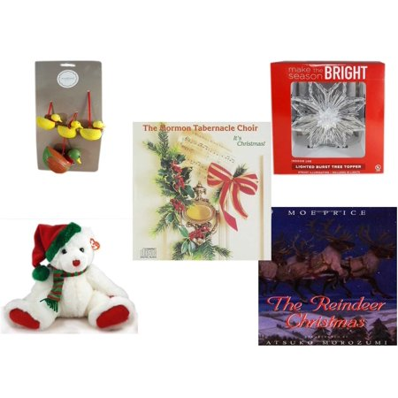 Christmas Fun Gift Bundle [5 Piece] - Martha Stewart Woodland  Set of 4 Duck Ornaments - Deck The Halls Lighted Burst Silver Tree Topper - The Mormon Tabernacle Choir It's  CD - TY Classic
