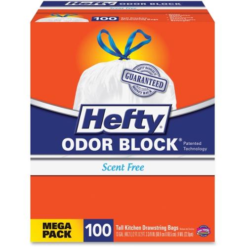 "Hefty Cinch Sak Tall Kitchen Bags - 13 gal - 24"" Width x 27.38"" Length x 1.10 mil (28 Micron) Thickness - White - 100/Bo"