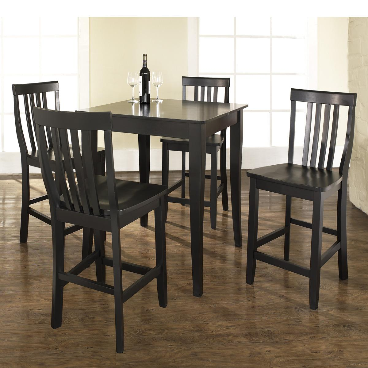 Black Pub Dining Set: 5 Piece Pub Dining Set With Cabriole Leg And School House