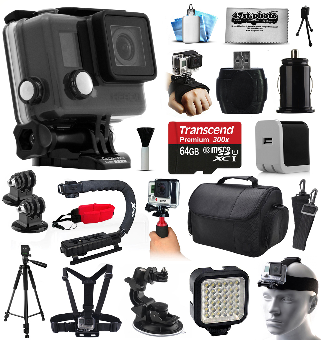 GoPro HERO+ LCD Camera Camcorder (CHDHB-101) with Professional Accessories Kit includes 64GB Card + Case + Tripod + Head & Chest Strap + Home & Travel Charger + Opteka X-Grip + Car Mount + More