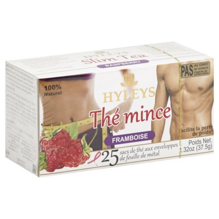 Hyleys 100% Natural Slim Green Tea Raspberry Flavor, 25