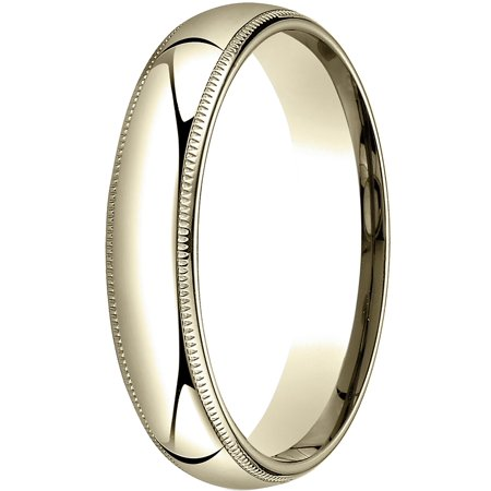 Mens 18K Yellow Gold, 5mm Slightly Domed Comfort-Fit Wedding Band with Milgrain