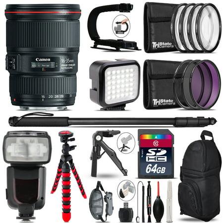 Canon 16 35Mm Is Usm   Video Kit   Pro Flash   Monopad   64Gb Accessory Bundle