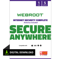 Webroot Internet Security Complete + Antivirus | 5 Devices | 1 Year | Digital Download