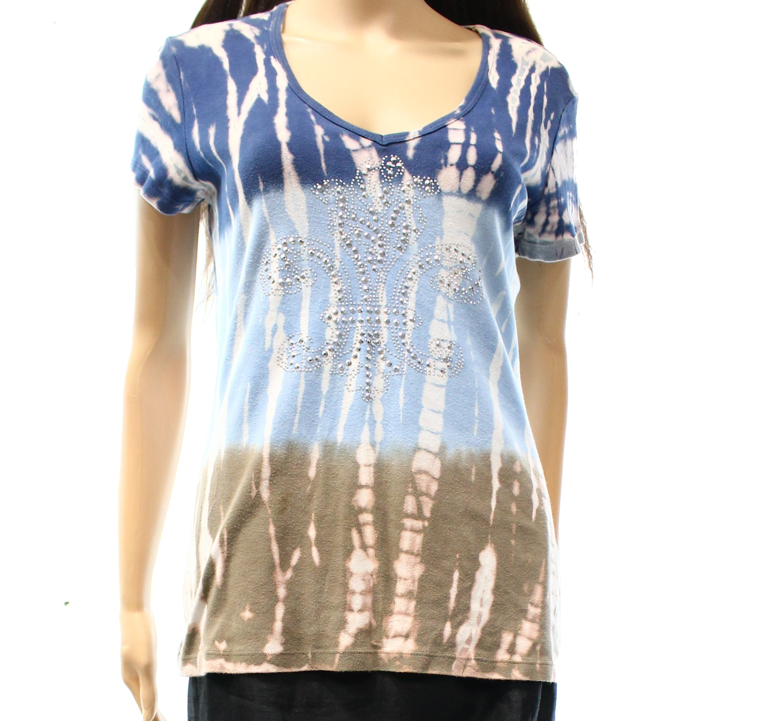 Tryst NEW Blue Women's Size Large L Embellished Tie Dye Knit Top