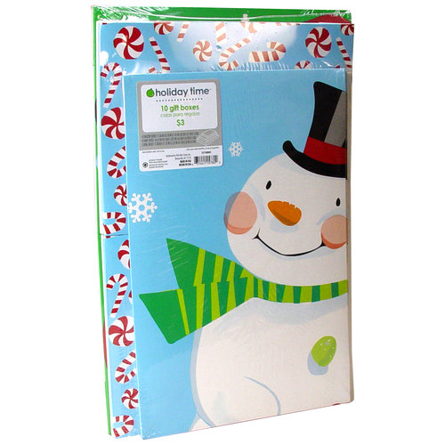 Holiday Time 10-Pack Christmas Gift Boxes, Cool Yule Snowman