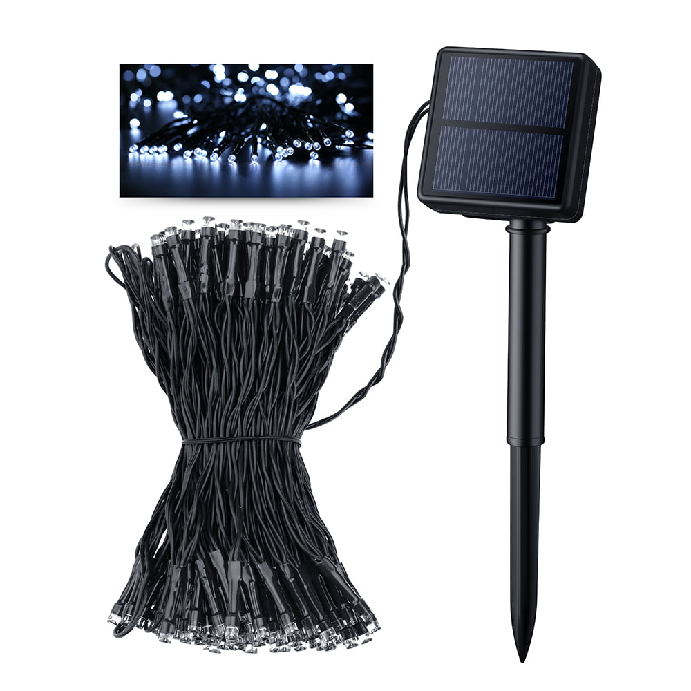 Victsing solar outdoor 200 led string lights ft - Decorative garden lights solar powered ...