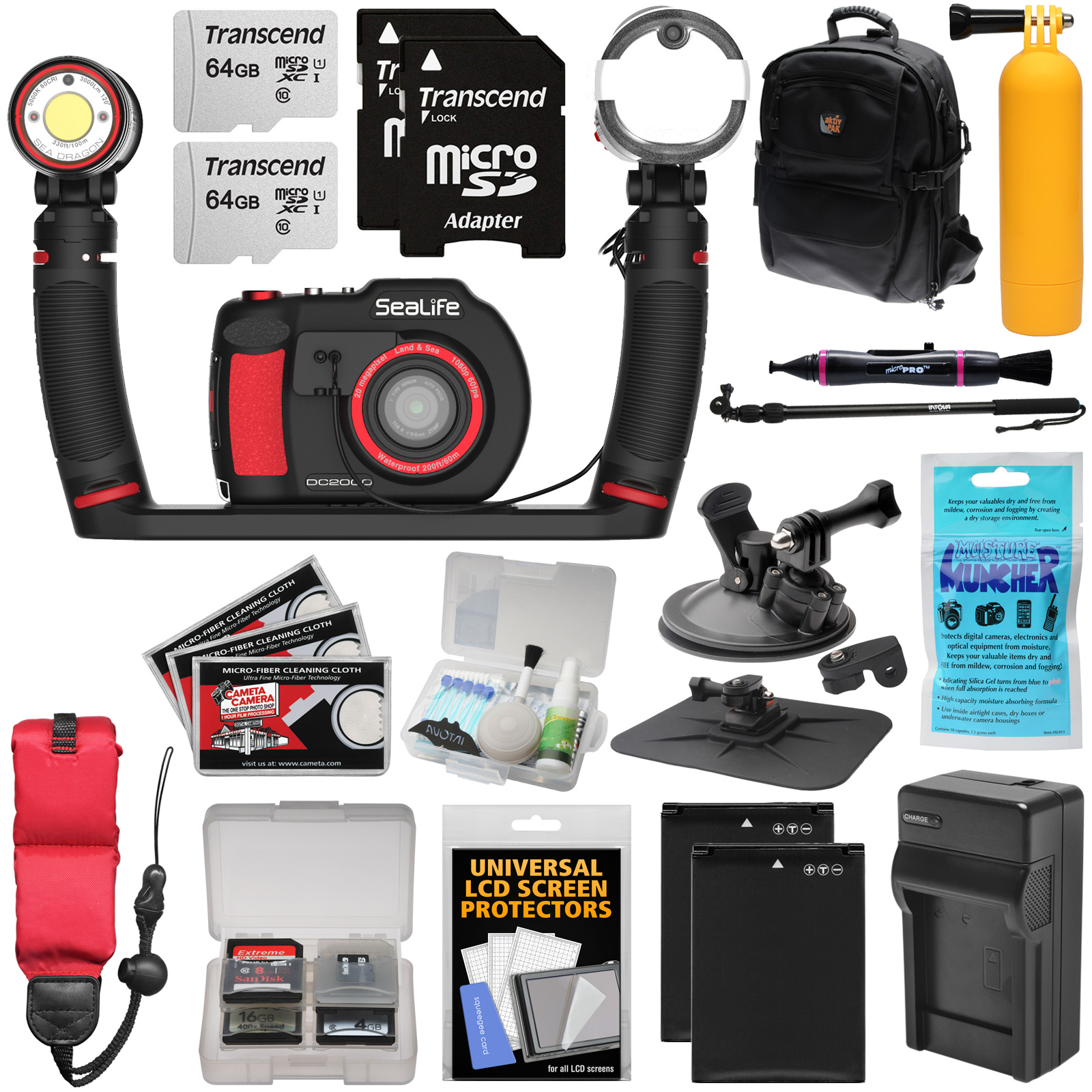 SeaLife DC2000 Pro Duo HD Underwater Digital Camera with Sea Dragon 3000 Light / Flash Set + (2) 64GB Cards + Batteries + Charger + Ext Pole + Mounts + Backpack Kit