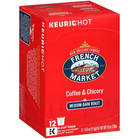 French Market Medium Dark Roast Coffee   Chicory K Cup Pods  12 Ct