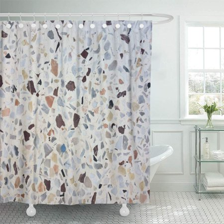 PKNMT Black Abstract Small Stone Floor White Building Cement Closeup Color Concrete Dense Bathroom Shower Curtain 66x72 (Installing A Shower Base On Concrete Floor)