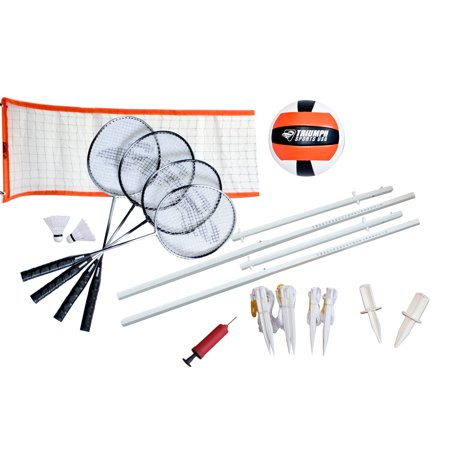Triumph Advanced Volleyball/Badminton Combo Set Includes Official Size Volleyball, 4 Badminton Rackets, 2 Shuttlecocks, and