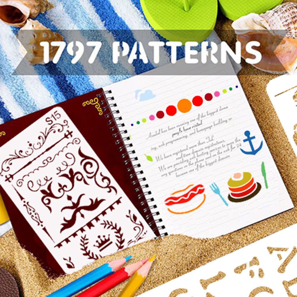 24PCS Stencil BetterJonny 4x7 Inch Plastic Planner Stencils Journal//Notebook//Diary//Scrapbook DIY Drawing Template Stencil Journal Stenci