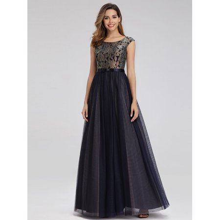 Ever-Pretty Women Vintage Floral Lace Evening Mother of the Bride Dresses for Women 0976 (Accessories To Wear With Navy Blue Dress)
