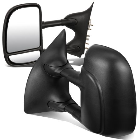 For 1999 to 2007 Ford F250 / 350 / 450 Pair of Black Textured Telescoping Manual Extenable Side Towing Mirrors 02 03 04 05 06