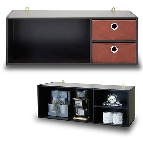 Furinno 10005EX/BR Wall-Mounted Storage or Desk Hutch with 2 Bin Drawers