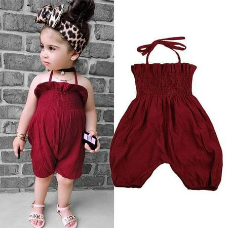 22e4981bc094 Newborn Baby Girls Summer Fashion Ruffles Sleeveless Halter Neck ...
