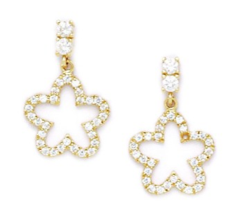 14k Yellow Gold Cubic Zirconia Star Drop Screw-Back Earrings - Measures 17x11mm