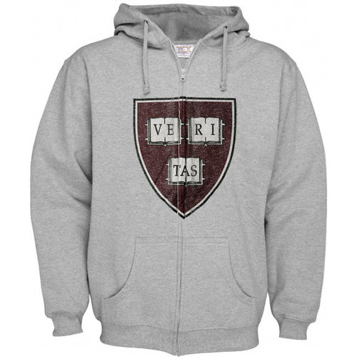 NCAA - Harvard Crimson Grey Distressed Mascot Full Zip Hooded Sweatshirt