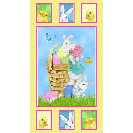 Henry Glass Easter Parade by Barb Tourtillotte Multi Bunny Panel 24 inch (Easter Bunny Parade)
