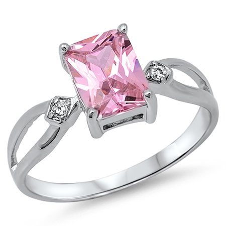 Women's Simulated Emerald Cut Pink CZ Unique Ring New .925 Sterling Silver Band Size 5 - Emerald Cut Pink Tourmaline Ring
