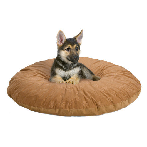 Midwest Homes For Pets Quiet Time e'Sensuals Embossed Paw Print and Bone Design Round Dog Pillow