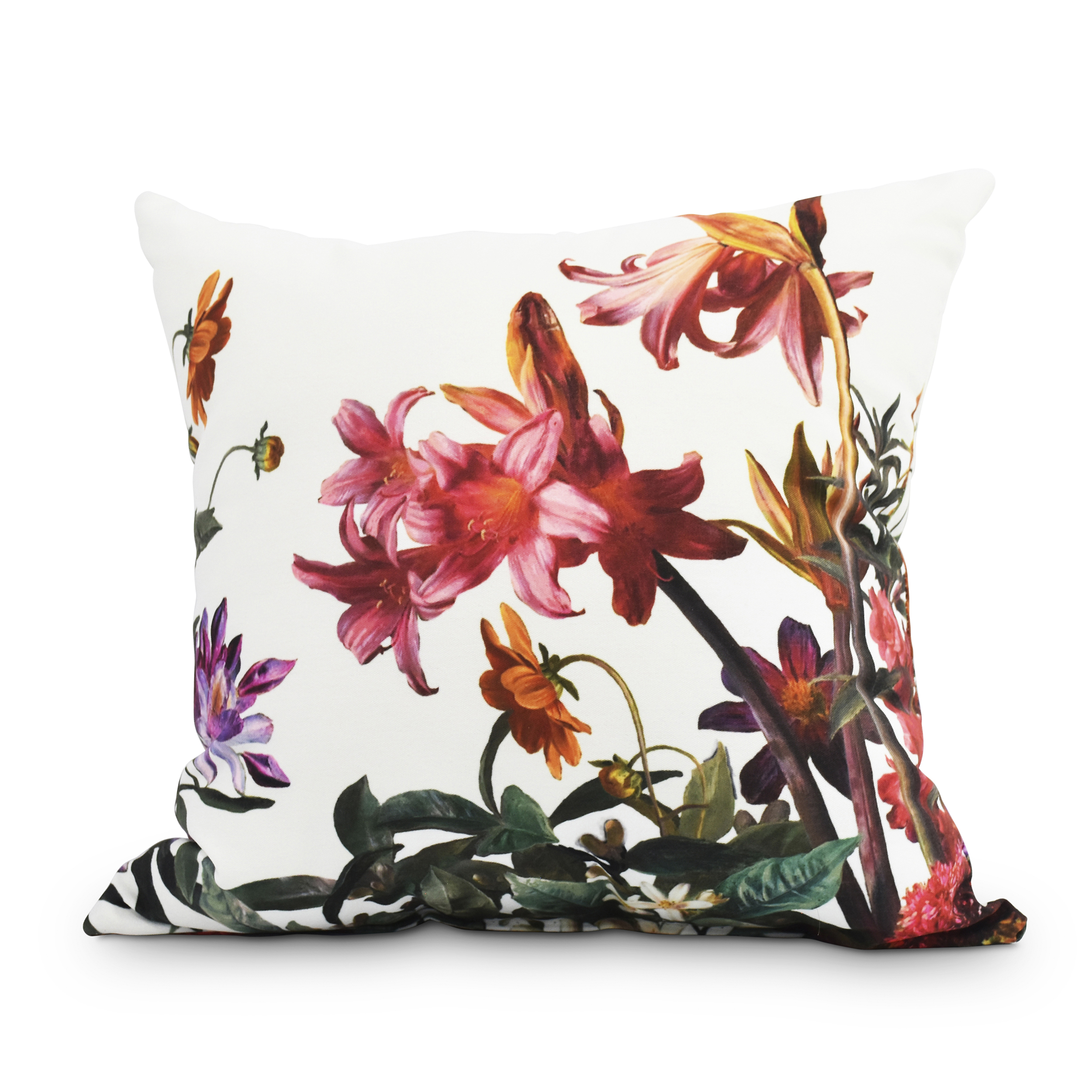 Color Me Floral 16 Inch White Floral Print Decorative Outdoor Throw Pillow