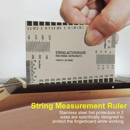 guitar string gauge tool with fret protectors set for guitar bass instruments string action. Black Bedroom Furniture Sets. Home Design Ideas
