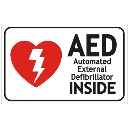 AED AUTOMATED External DEFIBRILLATOR Sign (White, Double Sided Tape,Aluminium, RED