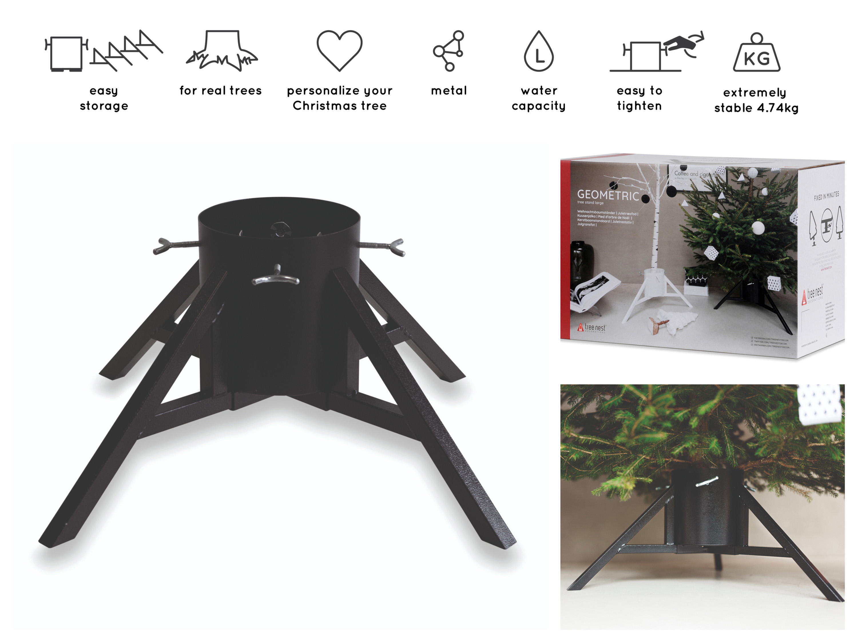 Real Christmas Tree Stand Geometric Black up to 10 ft ...