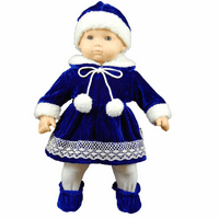 The Queen's Treasures15 Inch Doll Clothes, Blue Velvet Dress Hat, Tights & Shoes Compatible for use with  American Girl Bitty Baby & Bitty Twins